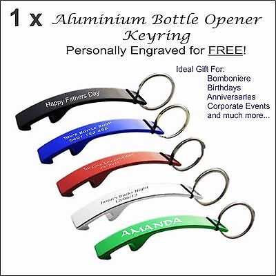Personalised Metal Keyring Bottle Opener Custom Engraved Wedding Birthday Gift