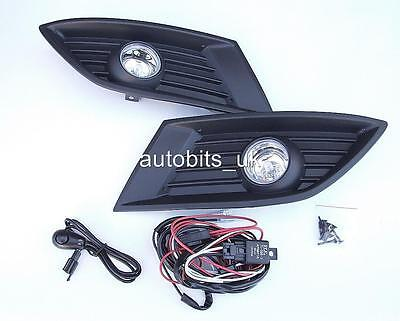 Fog Lights Lamps Grilles Set For Opel Vauxhall Corsa C 04-06 + Wiring Kit New
