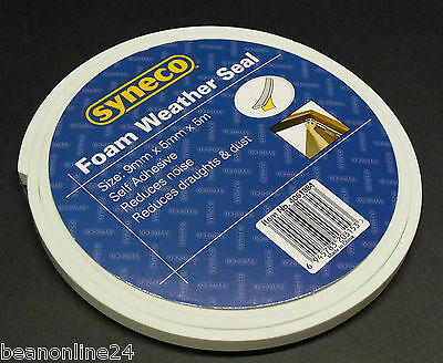 Foam Weather Seal 9mm x 5mm x 5 metres Draught Stopper Insulation with Adhesive