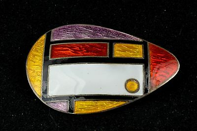 Sterling Pin - Geometric Shapes - Enamel (Purple, Red, Yellow and White)