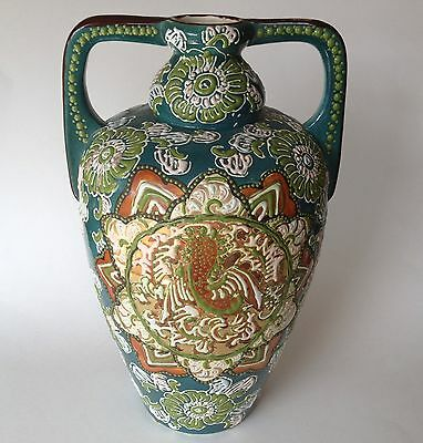 Tall Moriage Kyoto Japan Satsuma Vase Enamel Beaded Handle Sunburst Copper Aqua