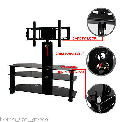 "Black Tempered Glass TV Stand With Bracket Cantilever For 42"" 30-60"" Plasma LED"