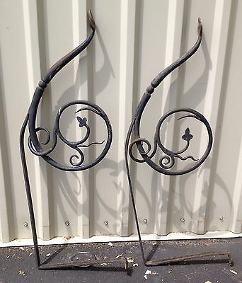 Pair (2) Large Antique Hand Forged Wrought Iron Archetctual Spanish Revival