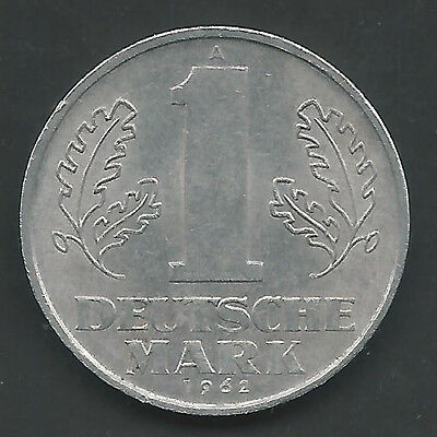 Germany, East, 1962-A,  1 Mark, Aluminum,  Km#13,  Almost Uncirculated