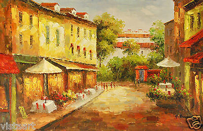 """Oil Painting On Stretched Canvas 24"""" X 36""""- City Sidewalks"""