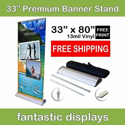 "33"" Premium Retractable Roll Up Banner Stand with Print Included for Trade Shows"