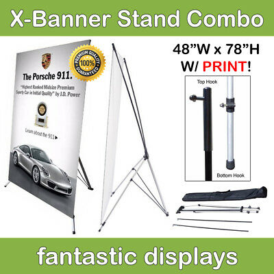 48x78 X-Shaped Banner Stand with Print Included for Trade Show Booths