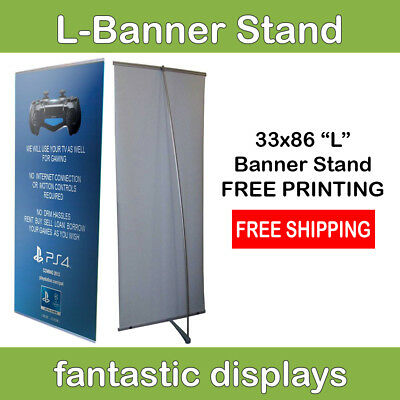 33x86 L-Shaped Heavy Duty Banner Stand with Print Included for Trade Show Booths