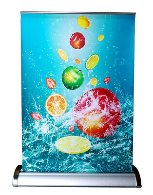"""Mini Table Top Counter Retractable Banner Stand+FREE Print, 11.5""""x16.5"""", R018"""