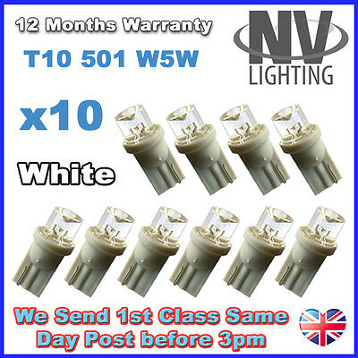 10 x WHITE T10 501 W5W LED Number Plate Light Bulbs