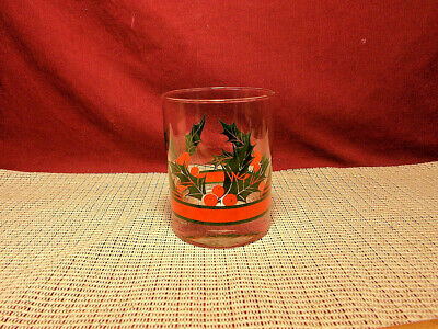 Libbey Crystal Holly & Berries Pattern Double Old Fashion Glass