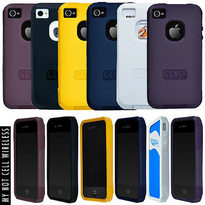 Gevey Box Iphone 4S/4 Hybrid Phone Cover Stand Case with Screen Protector