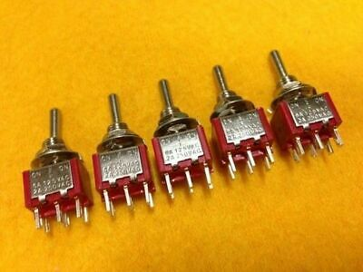 Mini toggle switch ON-ON * 10 pack * 6 pin 240V 2A 2 way 6 pin terminal DPDT 125