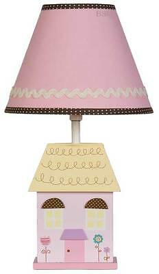 Living Textiles Baby Doll House Base with Pink Shade Girl Nursery Bedroom Lamp