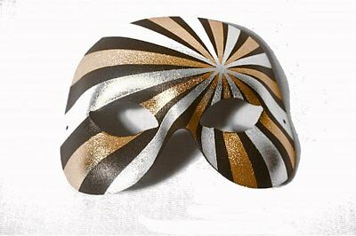 "masquerade mask ""psycho"" mens venetian psychedelic design silver black gold"