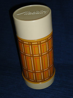 "7.75"" ALADDIN Plastic THERMOS BOTTLE w/Tan Plaid Design"