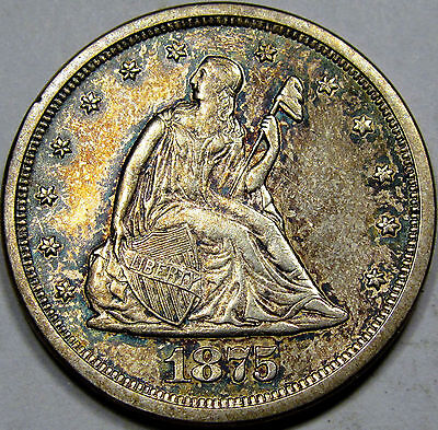 1875-S/S U.S. Twenty Cent Piece Choice BU MS++... Very Flashy with NICE COLOR!!!