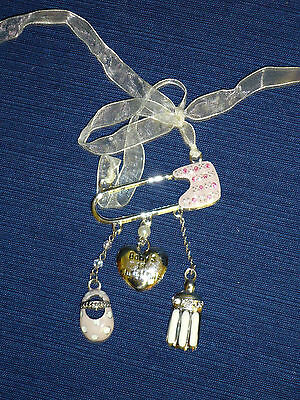 BABY'S FIRST CHRISTMAS Jeweled Safety Pin ORNAMENT w/Charms