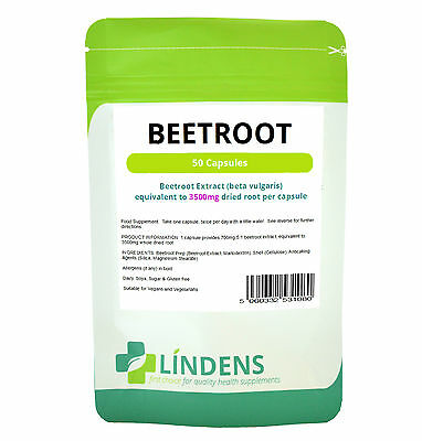 Super Strength BEETROOT EXTRACT 3500mg Capsules, Lindens, UK GMP Certified