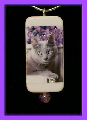 Gorgeous Russian Blue Cat Among The Flowers Pendant