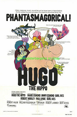 HUGO THE HIPPO MOVIE POSTER 27x41 Folded 1975 MUSICAL Donny & Jimmy Osmond