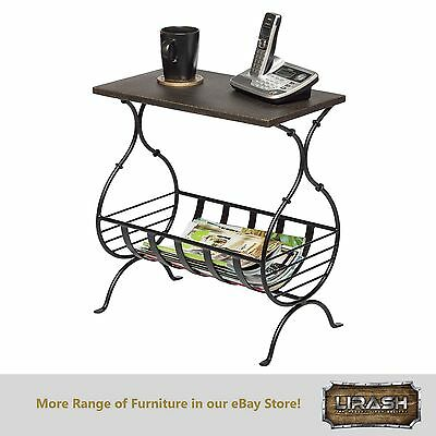 Magazine Holder Rack Stand End Side Table with Engraved Golden Finish Steel Top
