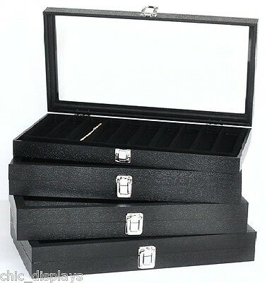 Glass Top Bracelet Box Black Display Case Wooden Case Large Jewelry Watch Box