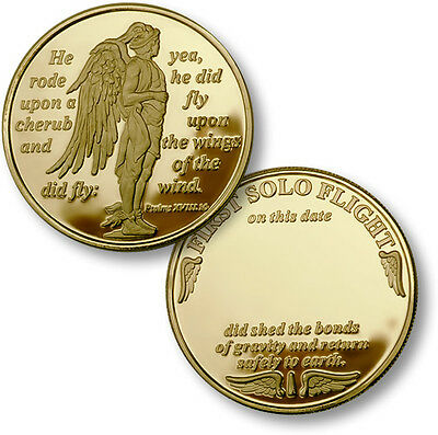 "First Solo Flight Challenge Coin Gold ""He Did Fly"" Psalm Student Pilot Cherub"
