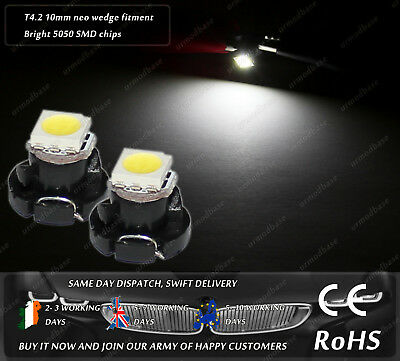 2x LED T4.2 Neo Wedge 1-1210 White Dashboard Cluster Speedo Panel Interior Bulbs