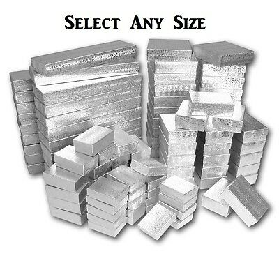 LOT of 100 SILVER COTTON FILLED BOXES JEWELRY GIFT BOX WHOLESALE GIFT BOX  DEAL