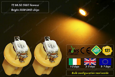 T5 Cap B8.5D 509T LED HID Amber Yellow Dashboard Cluster Speedo Instrument Bulbs