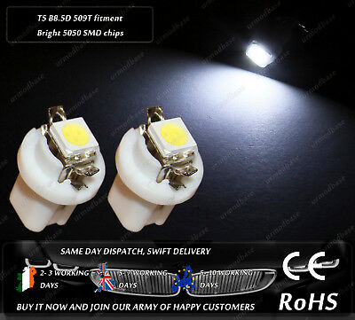 2x HID T5 Cap B8.5D 509T LED White Dashboard Cluster Speedo Instrument Bulbs