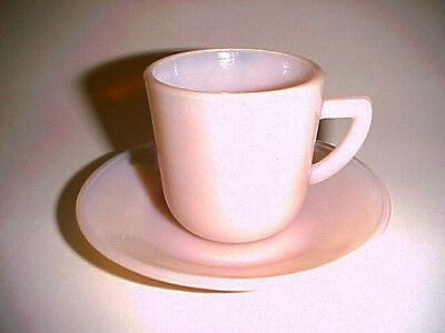 Seldom Seen Akro Agate Pink Demitasse Set  / Marked / Hard To Find