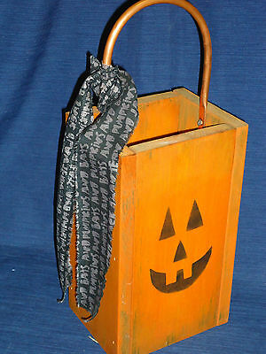 "11.75"" Primitive Country Painted WOOD JACK-O-LANTERN BOX w/Copper Handle"