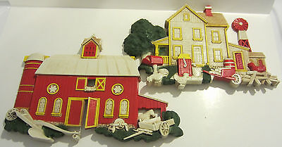 PAIR OF 1975 DART IND HOMCO PLASTIC FARM HOUSE & BARN WALL HANGING / PLAQUE USA