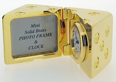 Novelty Miniature Dice Photo Frame Clock in Gold Tone on Solid Brass
