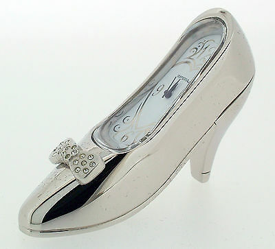 Novelty Miniature Stiletto Shoe Clock in Chrome Tone on Solid Brass