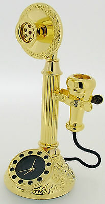 Novelty Miniature Candlestick Telephone Style Clock in Gold Tone on Solid Brass
