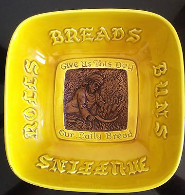 TREASURE CRAFT Vtg Bread Rolls Buns Bowl Give Us Our Daily Bread USA Pottery
