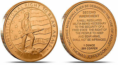 2nd Amendment Design • 5 New Coins • 1 oz each • .999 Fine Copper Bullion