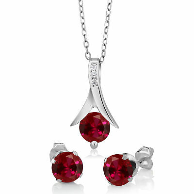"""2.40 Ct Round Created Ruby 925 Silver Pendant and Earrings Set 18"""" Chain"""