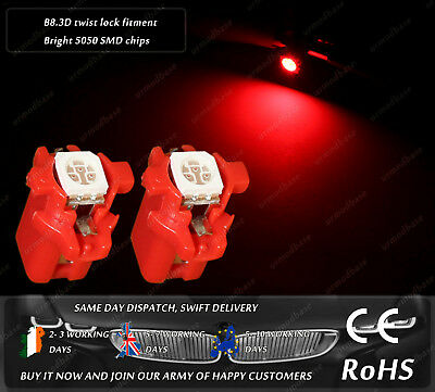2x B8.3D LED Red Dashboard Cluster Speedo Bulbs Instrument Gauge Panel Lamps 12v