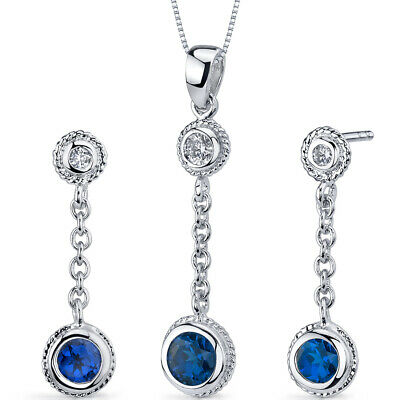 1.5 CT Round Blue Sapphire Sterling Silver Earring and Pendant Set