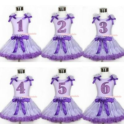 Lavender Purple Sparkle Birthday Number Bow Top Lavender Purple Pettiskirt 1-8Y