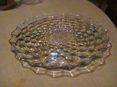 """Fostoria Glass American 12 1/2"""" Footed Under Tray Or Cake Plate Raised Middle"""