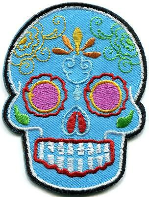 Skull tattoo biker horror goth punk emo rock retro applique iron-on patch G-101