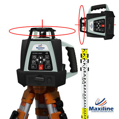 500M Self Leveling Rotating Rotary Laser Level w Tripod Staff Red Beam GSW201