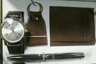 QBOS Mens Watch Wallet Pen and Key chain Keys Holder