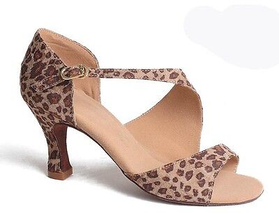 Leopard Fabric Lady Latin Dance shoes 3inch heels
