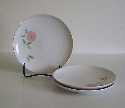 3 Franciscan PINK-A-DILLY Bread/Dessert Plates Pink Rose - THREE